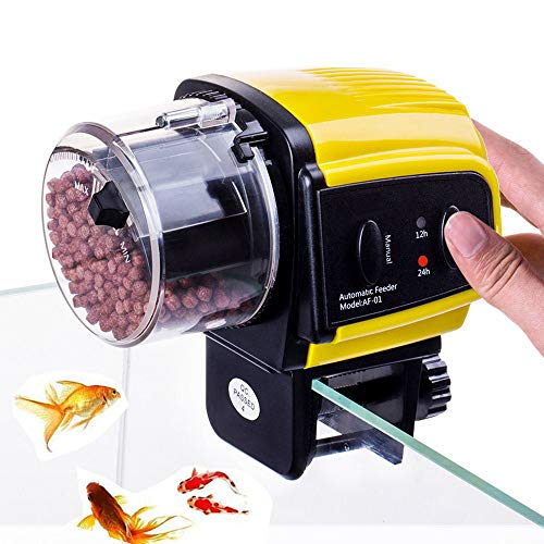 Powcan Automatisierte Futterspender für Fische Futterautomat für Fischfutter Fütterung 12h/24h Zeit Einstellung, geeignet für Aquarium, Fisch Tank und Schildkröten Tank