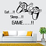FriendGG Fashion Letter Wall Sticker, Eat Sleep Game Controller Gamepad Video Game Wall Decal Boys Kids Child Bedroom Wall Decal Mural Art DIY Wallpaper Decoration (53cm by 86cm, Black)