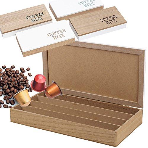 Organizer per capsule caffè organizzatore apribile in legno 4 scomparti 33x17cm