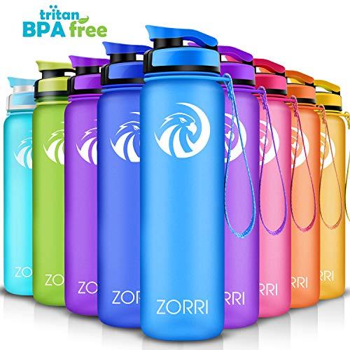 ZORRI Sport Trinkflasche auslaufsicher, BPA Frei & Umweltfreundlich Wasserflasche Für Kinder & Frauen, One Handed Open & Tritan, Für Gym/Outdoor/Camping - Blau - 800ml (8 Kunststoff-flasche Unzen)