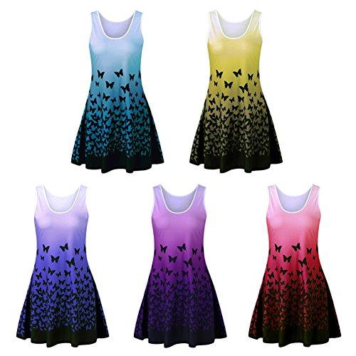 iShine Damen T-Shirt Kleid Ärmelloses Gedruckt Strandkleid Casual Loose Minikleid Sommerkleid Lila A