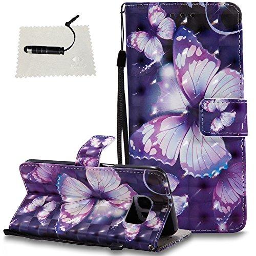 Samsung Galaxy S7 Edge Leder Wallet Hülle Schmetterling Leder TOCASO Handyhülle für Samsung Galaxy S7 Edge Schutzhülle Wallet Case Flip Cover BriefTasche hülle Holster - - Violetter Schmetterling