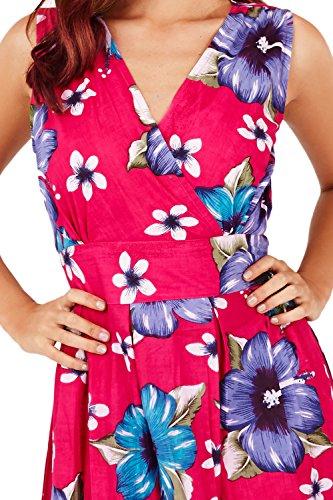 Pistachio -  Vestito  - skater - Floreale - Senza maniche  - Donna Pink - Large Floral