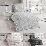 Dreamhome24 4 TLG Warme Bettwäsche Microfaser Flanell 2X 135x200 Winter Sterne Kissenbezug, Farbe:Silber