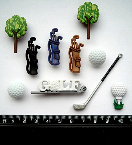 Golf - Novelty Craft Buttons   Embellishments by Dress It Up