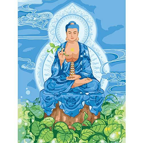 ssymfgzt Malen Nach Zahlen Blaue Buddha Statue Digitale Moderne Wandkunst Leinwand Malerei Weihnachten Einzigartiges Geschenk Dekoration - (40x50 cm)mit Rahmen (Statue Licht Weihnachten Mit Set)