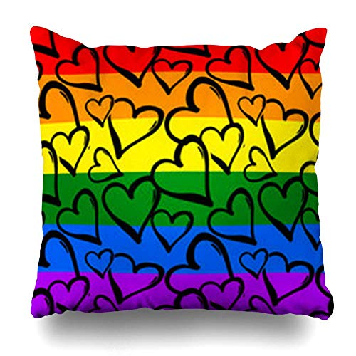 Monicago Zierkissenbezüge, Equality Gay Pride Rainbow Colored Hearts Hand Rawn Ink Brush Strokes in Doodle Modern Artistic for Pillowcase Square Size 18 x 18 Inches Home Decor Cushion Cases