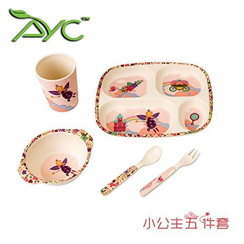 Xing Lin Set De Vaisselle Pour Enfants L'Usine De L'Environnement Des Enfants En Fibre De Bambou Couverts Bébé Costume Bol Repas Formation Bac Cuillère De Table,Cinq Morceaux De La Petite Princesse