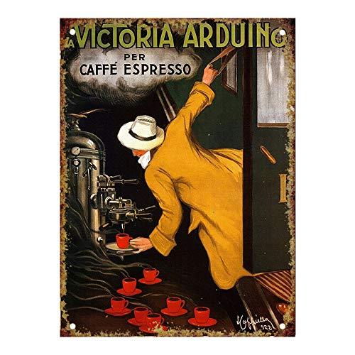 Forry La Victoria Arduino Caffe Espresso Metall Poster Retro Blechschilder Vintage Schild Zum Cafe Bar Garage Wohnzimmer Schlafzimmer - Espresso-metall
