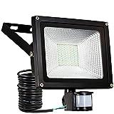 30W Faretto LED con sensore di movimento Proiettore LED illuminazione di sicurezza IP65 SAMNUE impermeabile per esterno 3000lm,cavi lunghi fino a 9,84ft. [Classe di efficienza energetica A++]