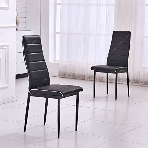 Contrast Pipe Dining Chair Faux Leather High Back & Seat Foam Padded Home Kitchen Room Restaurant Furniture (2 Chairs, Black)