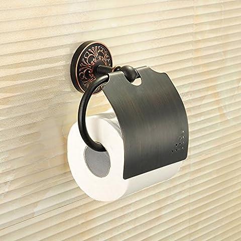 Die Erntesaison Antike Toilettenpapier Box Kupfer Papier Handtuchhalter Toilette Tray Roll Tray Bad Roll Halter ( Farbe : Schwarz )