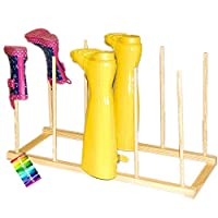 CrazyGadget Wooden Wellington Boots Wellies Rack Storage Holder Stand - Hold 5 Pairs