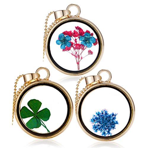Unendlich U Fashion Trockene Vierblättrige Blätter/Plum Blume/kleine Blumen Goldfarben Transparente Kristall Glas Rund Anhänger Damen Halskette für Frau, Freundin(3 Stück)