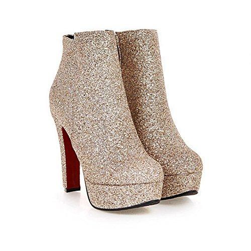 AllhqFashion Damen Reißverschluss Rund Zehe Blend-Materialien Knöchel Hohe Stiefel Golden