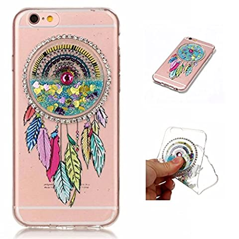 MUTOUREN TPU coque pour iPhone 6S Plus/6 Plus (5.5 Zoll) silicone transparent liquid Crystal cover bling case de protection Anti-poussière housse etui Anti-shock case étanche Résistante Très Légère Ultra Slim cas Soft bumper doux Couverture Anti Scratch-sables mouvants Dreamcatcher bleu clair