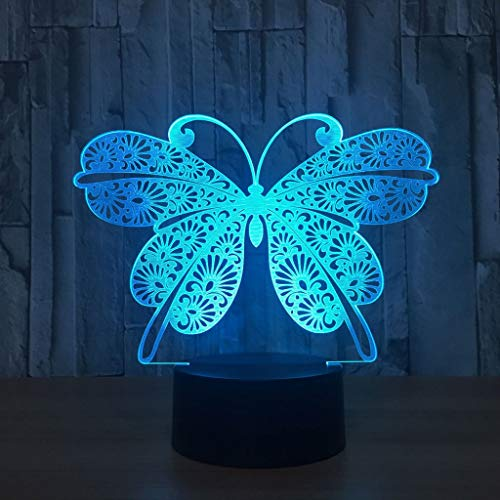 H.JPT Butterfly Home USB Powered Creative Custom Night Lights 3D Colorful Touch Gift LED Light for Boy Girl Watch Winder Box -