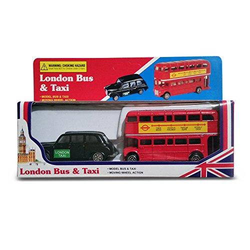 Preisvergleich Produktbild Diecast London Bus und London Taxi Zusammenstellung (Mini) Souvenir Original - Bewegungsrad Aktion - Besichtigung - einsteigen aussteigen - Spielzeug - 5 Passagier Kabine - Hackney Cab - London Souvenir