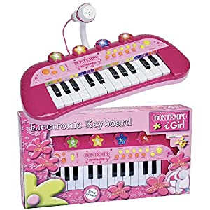 Bontempi-122971 Teclado electrónico de 24 Teclas y micrófono, Color Rosa, Rojo, Blanco (Spanish Business Option Tradding 12 2971)