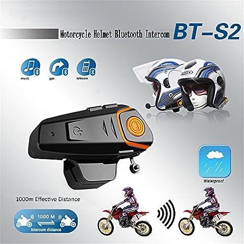 Bluetooth Fm Wireless Intercom Headset, Hot Automatische Antwort FM Wasserdichte Musik Motorrad Bluetooth BT-S2 Headset 3.0 1000 m Intercom Connect MP3 GPS Walkie-Talkie Motorradhelm