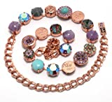 Amaro Jewelry Studio 'Spring Vibration' Collection 24K Rose Gold Plated Necklace Adorned with Rainbow Fluorite, Labradorite, Lavender Cape Amethyst, Amethyst, Amazonite and Swarovski Crystals