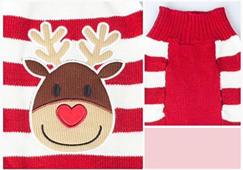 Weihnachten Rentier Rot Weiss Gestreiften Pullover Warme Kleidung Fuer Hunde M - 5