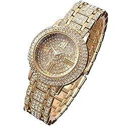 Zeiger Damenuhr Analog Quarz Strass Armband Damen Uhr Armbanduhren Gold W192