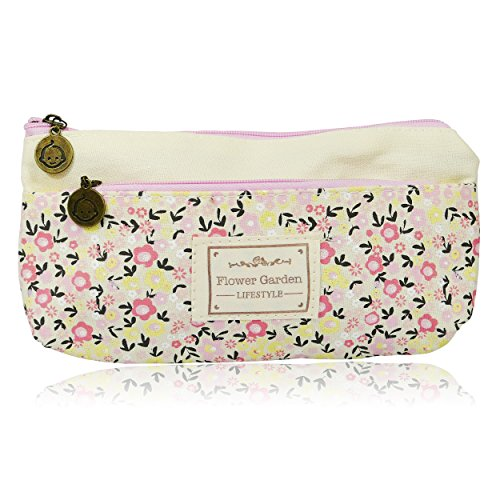 Floral Double Zipper Pencil Case Feder-Beutel, beige (Schulbedarf Billig)