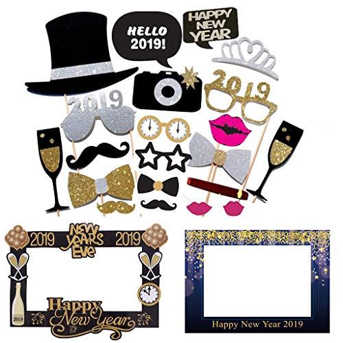 Amycute 2019 Frohes Jahr Photo Booth Requisiten DIY Installationssatz Photobooth für Erwachsene Kinder Party Accessoires 2019 Neujahr Party Dekor Verkleidung Mitbringsel Maske.
