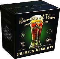 Bulldog Brews Marteau de Thor 6,0%    Gravité spéciale Lager 4.0 kg    Contenance : 23 litres 40 pinte    Les kits de bière Bulldog Brews contiennent deux fois plus de matière première que les kits de bière en étain standard. Cela combiné avec un ...