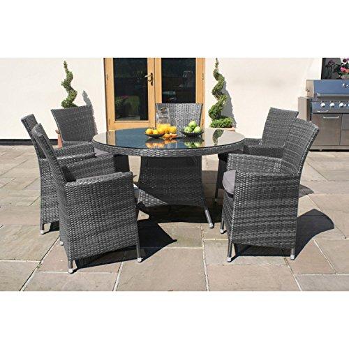 san diego rattan garden furniture grey 6 seater round table set