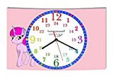 LAUTLOSE Wanduhr Kinder Lernuhr Mädchen Einhorn rosa pink zur Einschulung Uhr modern Dekoschild Bild 39 x 25cm