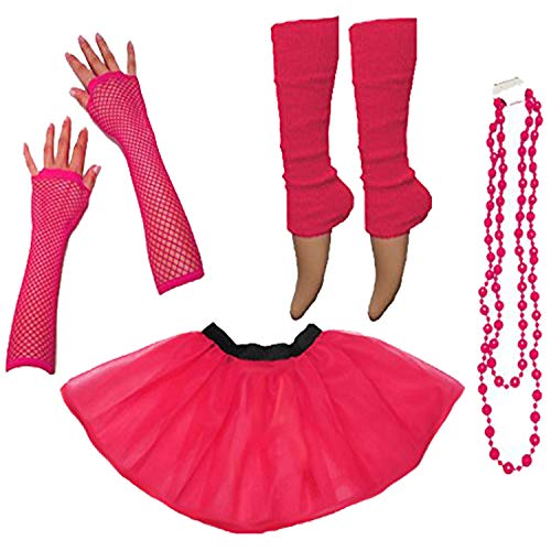 Momo&Ayat Fashions Ladies Neon UV Tutu Set Skirt Gloves Leg Warmers Beads 80s Costume Size 34-50 (EUR 34-42(UK 6-14), Neon Pink) (Billig Paar Fancy Dress)