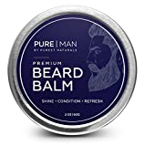 PURE | MAN Beard & Mustache Balm / Wax / Butter / Oil / Leave In Conditioner - Thickens, Strengthens, Softens, Tames & Styles Facial Hair Growth - Best & 100% Natural - Soothes Itching