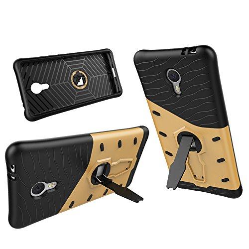 Meizu Note 3 Case, 2 In 1 Neue Rüstung Tough Style Hybrid Dual Layer Rüstung Defender PC Hartschalen mit Ständer Shockproof Fall Für Meizu Note 3 ( Color : Silver , Size : Meizu Note3 ) Gold