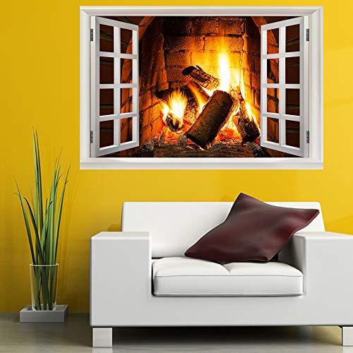 3D Chimenea Llama Fake Windows Wall Stickers Wallpaper Extraíble Faux Etiqueta De...