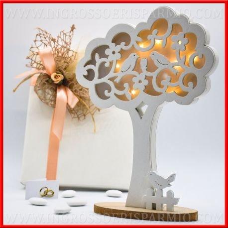 Licht notturan aus Holz weiß bestehend aus einer Base eckig und ein Baum der Leben komplett mit LED, die Vorderseite von Glas ist angereichert mit Verzierungen aus Holz in Blumen und ein kleiner Vogel Mitte–Gastgeschenke Hochzeit, Hochzeit, Jahrestag kit 12 pz. rot Glas Blumen Base