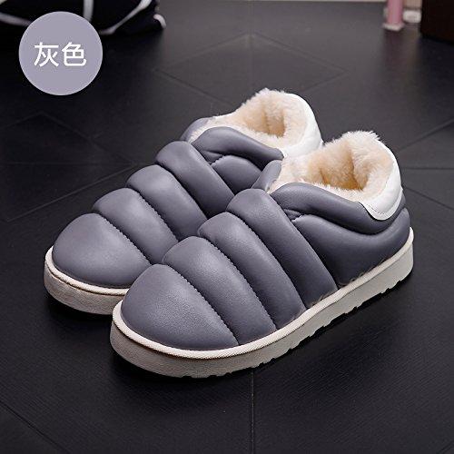 Inverno paio di pantofole di cotone pacchetto femmina con piscina coperta e piscina termale home soggiorno sull'anti-slip di cotone spessa scarpe uomo eleganti e,39-40 per 38-39, bianco grigio.