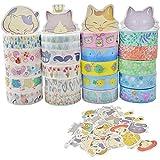 WENTS 20 Rouleaux Washi Ruban adhésif de masquage Décoratif Masking tape Scrapbooking et 45 PCS Sticker Factory Autocollant Stickers...