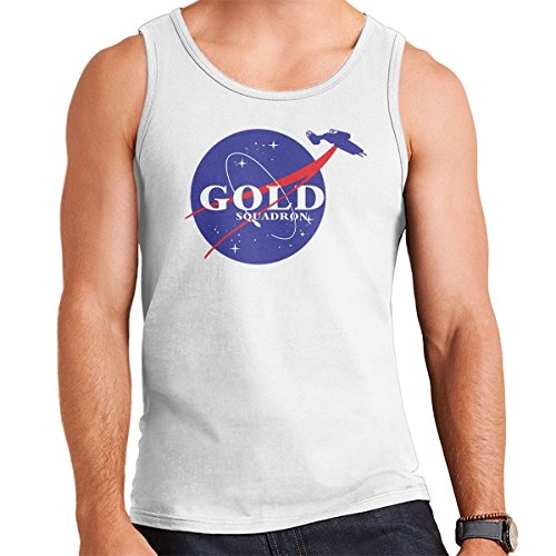 Star Wars Rogue One Gold Squadron Nasa Logo Men's Vest White