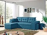 Bestmobilier - California - Canapé d'angle réversible et Convertible avec Coffre de Rangement - 246x85x145cm - Bleu Canard