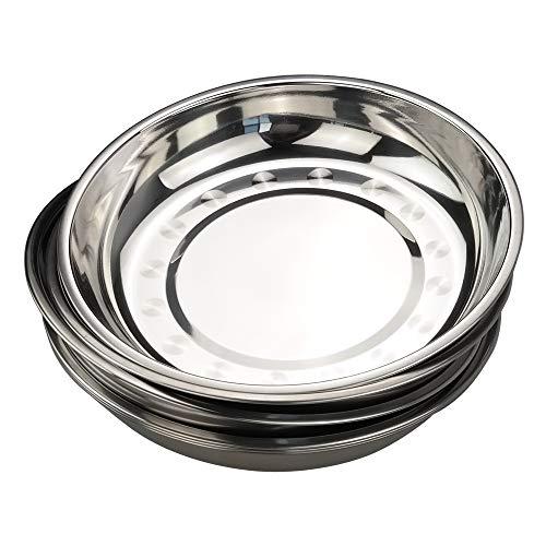 Bblie set di 6 piatti da portata in acciaio inox, piastra rotonda per cena, piatti per camping, piatto rotondo da cucina
