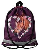 Aminata Kids - Kinder-Turnbeutel für Mädchen mit Sache-n Mädchen Haus-Tier-e Pferd-e Sport-Tasche-n Gym-Bag Sport-Beutel-Tasche anthrazit rosa grau Einhorn Blume-n