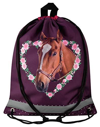 Aminata Kids Turnbeutel Pferd Pony Damen Mädchen Frauen Rosa Braun Sport-Beutel Tanzen Hipster Jugend-lich-e Bedruckt-e Pferde Einhorn