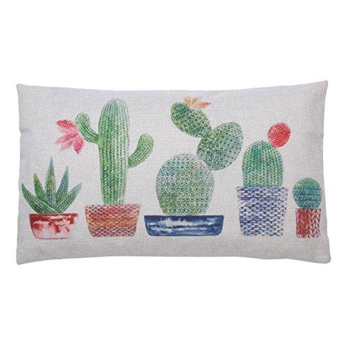 Domy Motif de Cactus Creative taie d' Oreiller Housse de coussin en Coton (C)