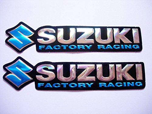 3D blue / chrome SUZUKI stickers decals adhesivo - set of 2...