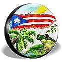 Drew Tours Guten Schlaf mit Puerto Ricos Frog Reserveradabdeckung für Anhänger RV SUV Trucks Wasserdicht Leicht zu Finden und sauber zu halten Reserveräder 16 Zoll