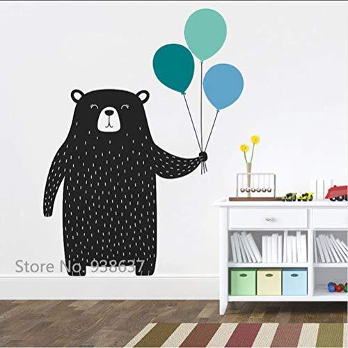 Wsxwga cute bear with balloons wall stickers woodland animal vinyl adesivo per camera dei bambini camera da letto nursery wall tattoo decor 57 * 83cm