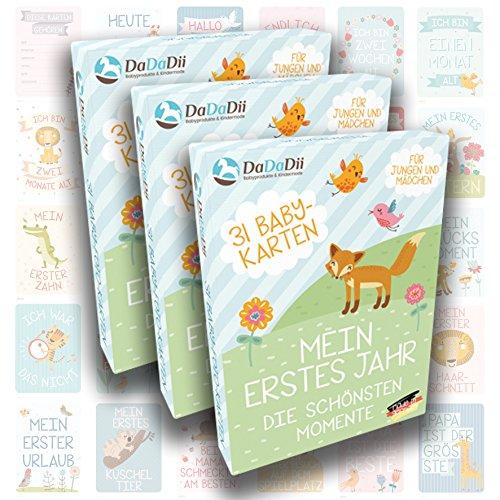 DaDaDii 31 Baby Foto Karten für das erste Lebensjahr l 3er Set l Perfekt für Drillinge l Der Hit auf jeder Babyparty l Super für die Baby Erstausstattung I (Frischs Geschenk-karte)