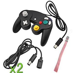 GTMax 2x Black 6 Feet Extension Cable + 2 x Black Gamecube Controller +Pink Wrist Strap For Nintendo Gamecube Wii